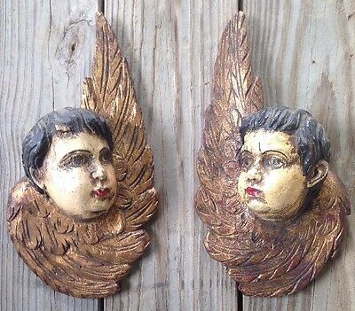"ANGLES matched PAIR WOODEN CARVED Cherubs  Putties VINTAGE 1900's LARGE 11"" x 6"""