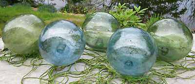 "Japanese GLASS Fishing FLOATS 3.5"" LOT-5 BLUE & GREEN w/++BUBBLES +Net Vintage!"