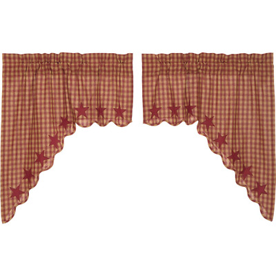 Burgundy Star Check Scalloped Cotton Country Cottage Lined Window Swags