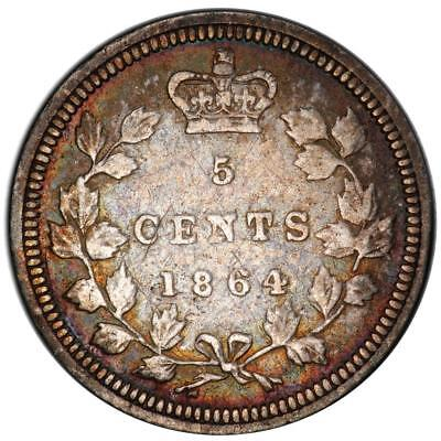 1864 New Brunswick silver 5 Cents Large 6 PCGS cleaned VF detail