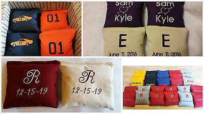 Embroidered Cornhole Bags Personalized Corn hole Wedding Tail Gating Monogrammed