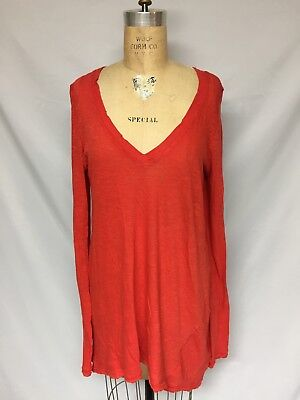 Free People 'Anna' Burnout High/Low Tee OB471219 Coral size S, M NWT