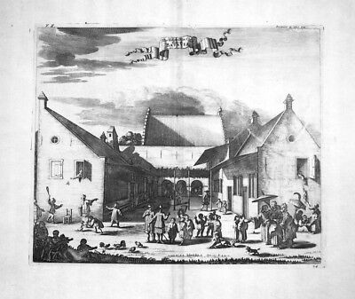 1730 Batavia Jakarta children hospital Indonesia Kupferstich engraving Churchill