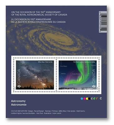 2018 CANADA Post ~ ASTRONOMY Souvenir Sheet ~ 2 Stamps ~ Released June 29, 2018