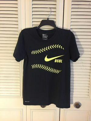 1f544ff262bd The Nike Tee Mens Size Small Athletic Cut BSBL Baseball Dri Fit Black Shirt