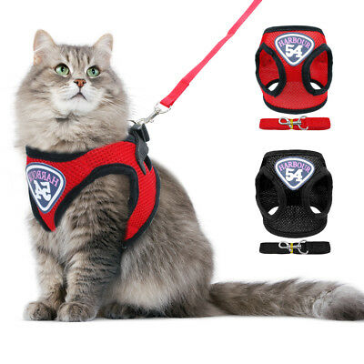Mesh Escape Proof Cat Harness and Leash Adjustable Kitten Jacket Large Small
