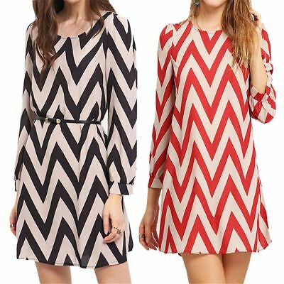 Women's Fashion Wave Pattern Dresses Water Ripple Print Summer Party Mini Dress