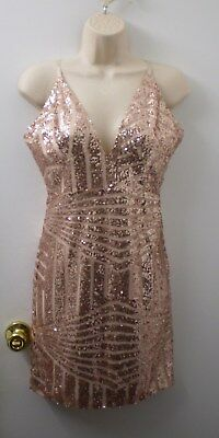 79c5cd7b00 SheIn Sequin Sleeveless Mini Cocktail Party Dress Formal Fully Lined Size M  *Q81