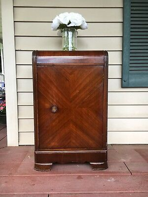 Vintage 1930's ART DECO WATERFALL NIGHTSTAND END TABLE CABINET WITH CHAIR