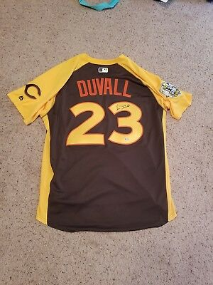 028558025 Reds Adam Duvall signed 2016 All-Star jersey MLB authenticated + HR derby  ticket