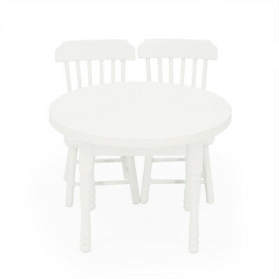 1:12 Dollhouse White Wood Table with Two Chairs Furniture Dining Miniature Gift