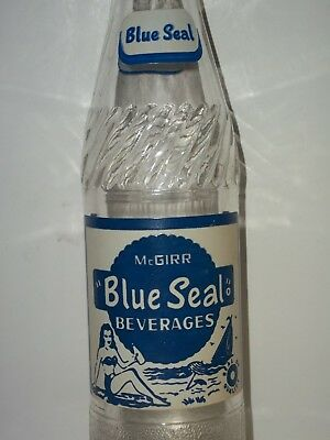 #2Exc 1950's McGirr BLUE SEAL SODA BOTTLE 10oz ACL Lady BIKINI Swim Suit Ontario