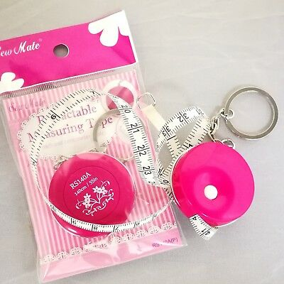 "Ladies' Retractable Tape Measure with Keyring   140cm/55""   X2pcs"
