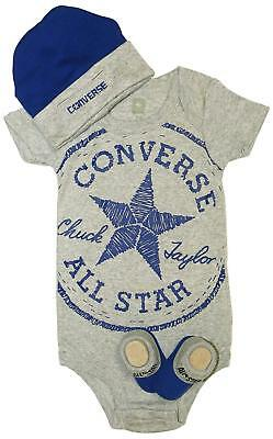 Converse Chuck Taylor Infant 3 Piece Clothing Set for 0-6 Month Old - Gray/Blue