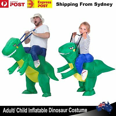 Adult Kids Halloween Inflatable Green Dinosaur Rider Party Costume Jurassic Suit