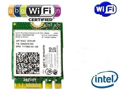 + Intel® Wireless-N 7260 Dual Band 802.11a/b/g/n WLAN WIFI PCIExpress M.2 NGFF +