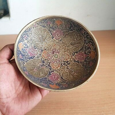 1940's Old Beautiful Fine Miniature Hand Carved Peacock Floral Design Brass Bowl