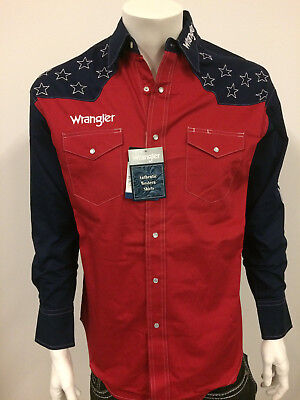 Shirt. LARGE NWT Wrangler Logo Rodeo Western Embroidered Long Sleeve.