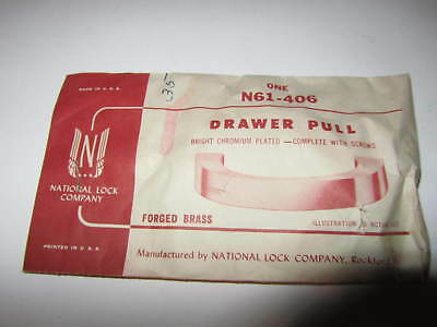 Vintage 1950s NOS  FORGED BRASS  CHROME Drawer Pull N61-406 National Lock
