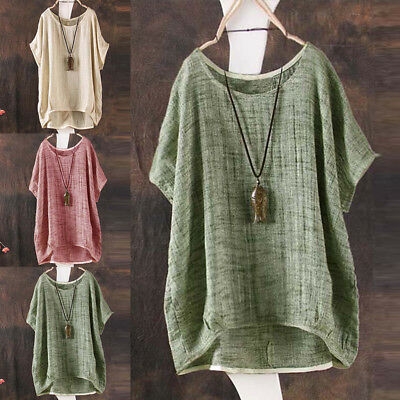 UK Plus Size Vintage Womens Ladies Casual Baggy Cotton Linen T-Shirt Tops Blouse