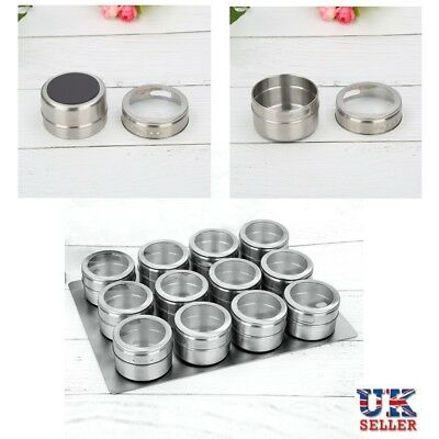 12Pcs Magnetic Spice Tins Stainless Steel Storage Container Jars With Clear Lids