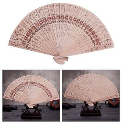 Chinese Folding Original Incense Wooden Carved Hand Fan fit Wedding Party Summer