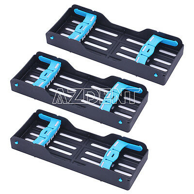 3 Kits Dental Sterilization Cassette Rack Holder Plastic 5 Instruments Tray UK