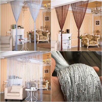 Tassel Shiny String Indoor Window Door Divider Sheer Curtains Valance 2.9x2m