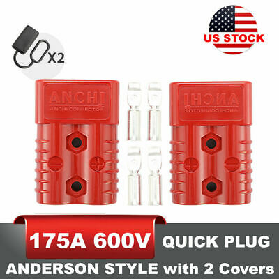 175A 600V Anderson Style Plug w/ Cover Charger 2 poles Power SB175 Red Connector