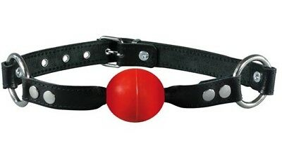 Bondage Leder Ball Mund Knebel rot mit 40mm PVC Ball Mundknebel