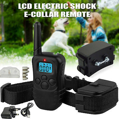 Electric Rechargeable LCD Shock E-Collar Remote Control Dog Training Anti-Bark