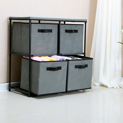 4-Drawer Storage Chest Shelf Unit Storage Cabinet Multi-Bin Organizer in Grey