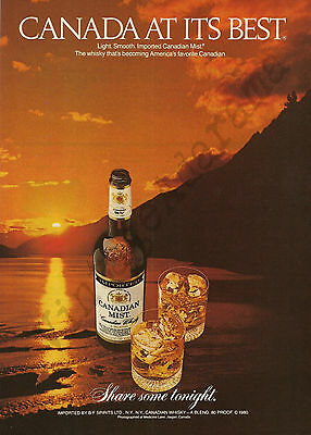 CANADIAN MIST WHISKY Original 1981 Vintage Color Print Advertisement - Sunset