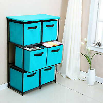 6-Drawer Storage Chest Shelf Unit Storage Cabinet Multi-Bin Organizer