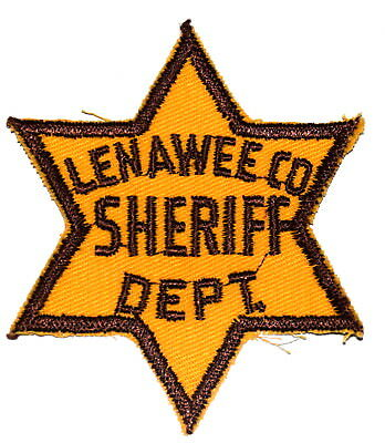LENAWEE COUNTY MICHIGAN MI Police Sheriff Patch STAR SHAPE VINTAGE OLD MESH 3.75