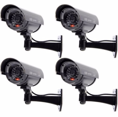 4 Pack IR Bullet Fake Dummy Surveillance Security Camera CCTV Record Light