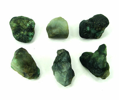 300 Ct Natural Green Emerald Loose Gemstone Rough Specimen Lot 6 Pc - 3347