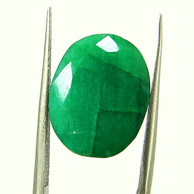 6.40 Ct Certified Natural Green Emerald Loose Oval Cut Gemstone Stone - 131212