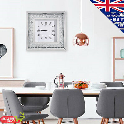 50x50cm Wall Clock Diamond Crystal Bevelled Mirror Glass Square Roman 12 Hours