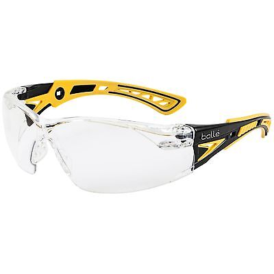 Bolle Rush + Small Safety Glasses with Clear Anti-Fog Lens, Yellow/Black Temples
