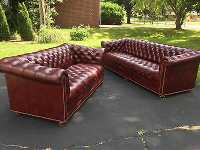 Hancock & Moore Tufted Chesterfield Parlor Sofa and Loveseat in Oxblood Leather