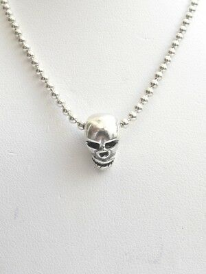 81dec659f96c8 925 STERLING SILVER skull bead military ball chain necklace men women punk  new
