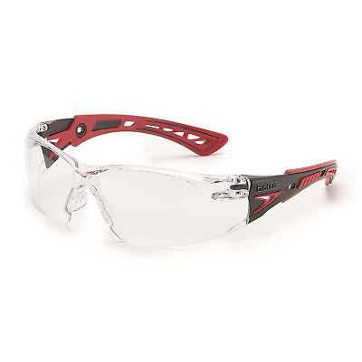 Bolle Rush + Safety Glasses with Clear Anti-Fog Lens, Red/Black Temples