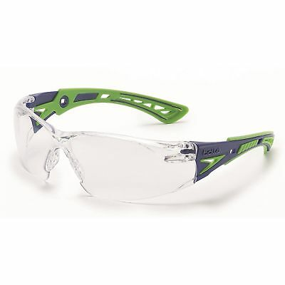 Bolle Rush + Safety Glasses with Clear Anti-Fog Lens, Green/Blue Temples