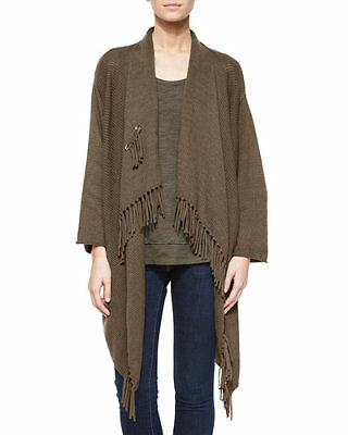 aea3aec8616 Pure Handknit Cotton Cardigan Long Open Fringe Front Cardigan Moss Green  NWOT