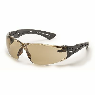 Bolle Rush + Safety Glasses with Clear CSP Anti-Fog Lens, Black/Grey Temples