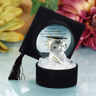 Graduation Gifts Crystal Owl In Black Hat College University Degree New Present