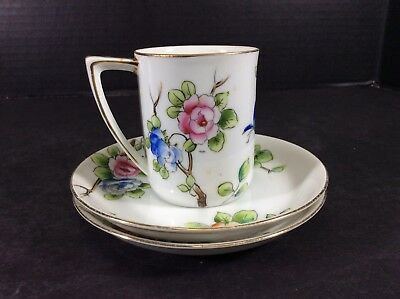 """Beautiful Antique Nippon """"M"""" Hand Painted Demitasse Cup & Saucers"""