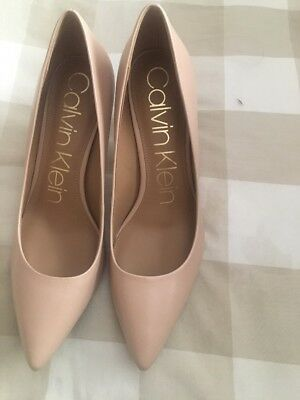 cfb805b272d9 Calvin Klein Nilly Pointed Toe Nude   Taupe Patent Pumps Heels Shoes Size  9.5 M