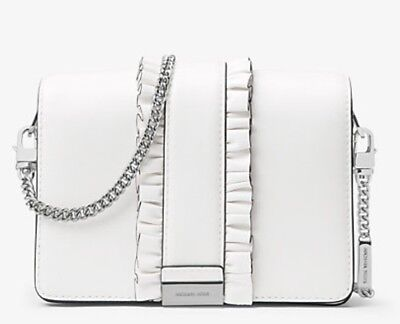 390befbf1760 Michael Kors Cynthia Small Ruffled Leather Satchel Optic White Mrp 358